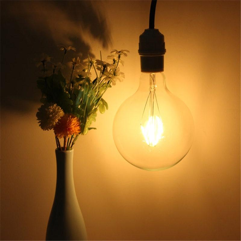 Smuxi E27 G125 COB LED Light 4W Retro Edison Bulb Filament Lamp Globe Bulb Candle Light Indoor Chandelier Lighting AC220V cob chip led light vintage edison bulb e27 g125 4w 6w 8w filament lamp led globe light bulb warm white lighting ac220v