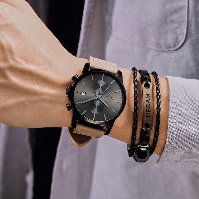 Business Mens Sport Quartz Leather waterproof watch