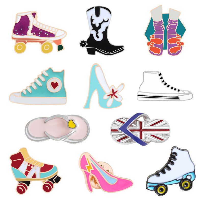 11 Style Cartoon Brooches Enamel Pin Skates Jewelry Bag Decoration Canvas Roller Shoes Boot High Heels Dance Lover Gift For Girl