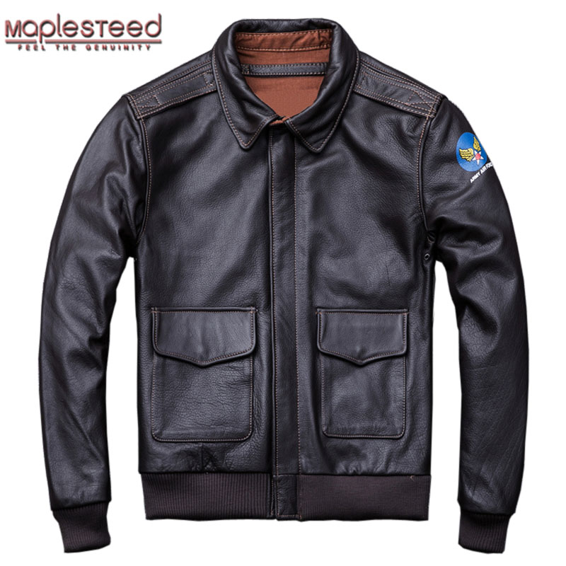 MAPLESTEED Military Pilot Jacket Air Force Flight A2 Jackets Men Leather Jacket Black Brown Cowhide Men Coat Autumn 4XL M154