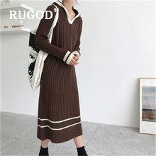 RUGOD Korean chic women knitted dress Fashion thicken hooded ladies pullover dresses Casual auturm warm femal clothing