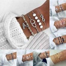 HOCOLE Vintage Chain Bracelets For Women Bohemian Crystal Multi-layer Gold/Silver Metal Bangle Bracelet Fashion Wedding Jewelry