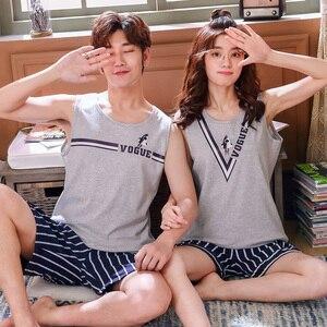 Image 4 - Summer Cotton Couple Vest Pajama Sets Cartoon Pijama Sleeveless Casual Cute Plus Size M 3XL 2Pcs/set Pyjamas Lovers Sleepwear