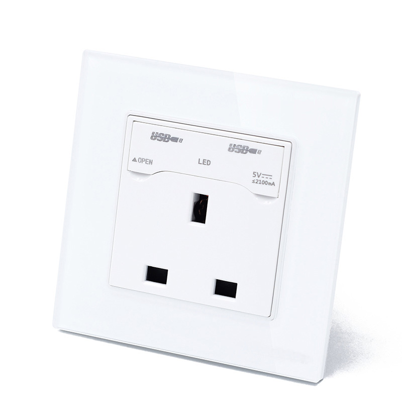 ATH Glass White 13A British USB Wall Socket For Mobile Charging Outlet Power British Standard UK Electrical Socket Panel Type british mk british unit power supply socket metal 13a power outlet british standard unit socket