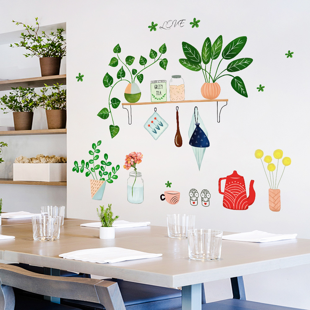 Creative Kitchen Wall Decor: DIY Creative Green Potted Plants Wall Sticker Mural Home Decor Living Room Decal For Kitchen