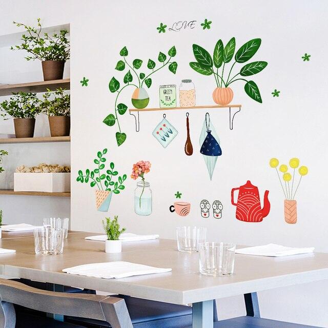 diy kreatif tanaman pot hijau wall sticker mural home decor living