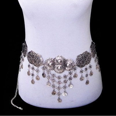 Hot Selling Gypsy Silver Metal Coins Belly Chain Jewelry Hippie Boho Flower Bohemian Shimmy Belt Dance Belly Chains Jewelry new women s belly dance set costume belly dancing clothes sexy night dance bellydance carnival tops chain bra belt 18128