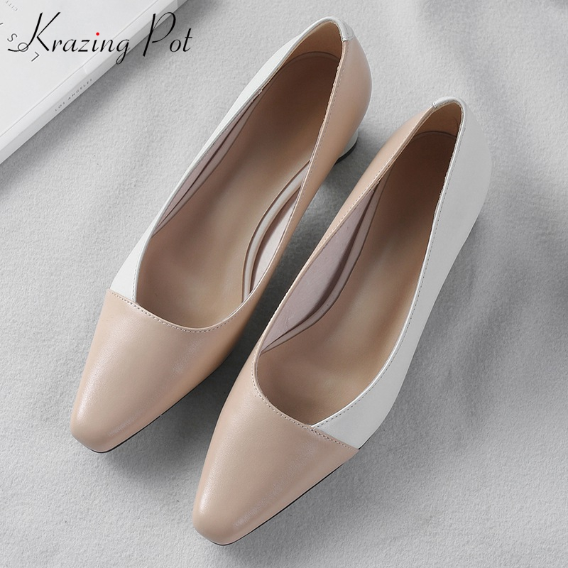 Krazing pot new full grain leather slip on classical women pumps high quality mixed color style square toe office lady shoes L96 krazing pot sheep suede summer elastic band thin med heels beading pointed toe slip on women sexy office lady pumps shoes l96
