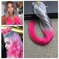 Полный Блеск Ombre Цвет Серебряный Розовый Радужный Клип Расширения бразильский Клип в Расширениях Человеческих Волос Два Тона Реального Человека волос