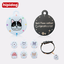 Hipidog Customized Free Engraved Pet Dog Tag One Sided Personalized ID Tag Round Shape Stainless Steel Pet Name Phone Number Tag цена