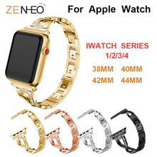 цена на Metal strap Women's bracelet For Apple Watch band 40mm 44mm 38mm 42mm Rhinestone for iWatch band series 4 3 2 1 straps wristband