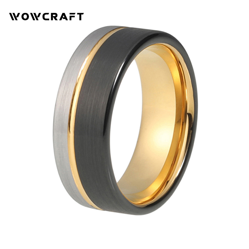 Womens Mens Tungsten Wedding Band Rings Offset Gold Line Tow Tone Tungsten Carbide Ring 8mm Comfort Fit Brushed Finish Pip Cut туфли donna serena туфли на каблуке