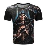 2017 New Fashion High Quality Men Women Cool 3d Print Shirt God Of Death Skull Sickle