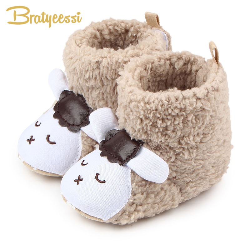 Cartoon Baby Boots Plush Winter Baby Shoes For Kids Snow Boots Non-Slip Sheep Panda Infant Boots For Boys Girls Snowshoes