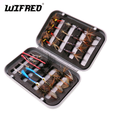 Wifreo 32Pc/Box Trout Nymph Fly Fishing Lure Dry/Wet Flies Ice Fishing Lures Wobblers isca Artificial Bait with Box for Fishing