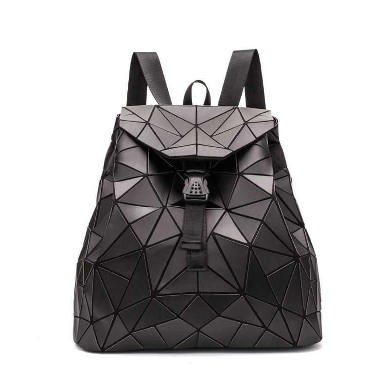 New Geometric Backpack Women Shoulder Bags For Women Folding Backpacks Black Student School Bags Hologram Rucksack Bag Mochila