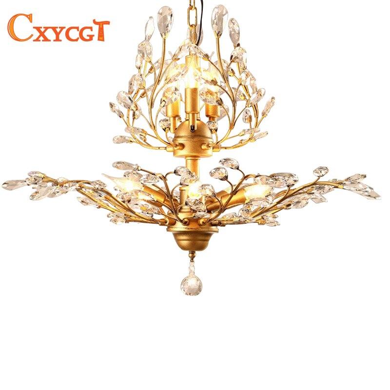 Vintage Style américain or noir cristal lustres luminaires pour chambre salon Foyer