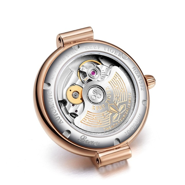 Reef Tiger/RT Top Brand Luxury Women Watch Ceramic Rose Gold Bracelet Diamond Automatic Mechanical Shell Watches Clock RGA1592 6
