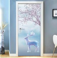 Door sticker bedroom wooden door renovation self adhesive paper door bathroom wall sticker kitchen 5