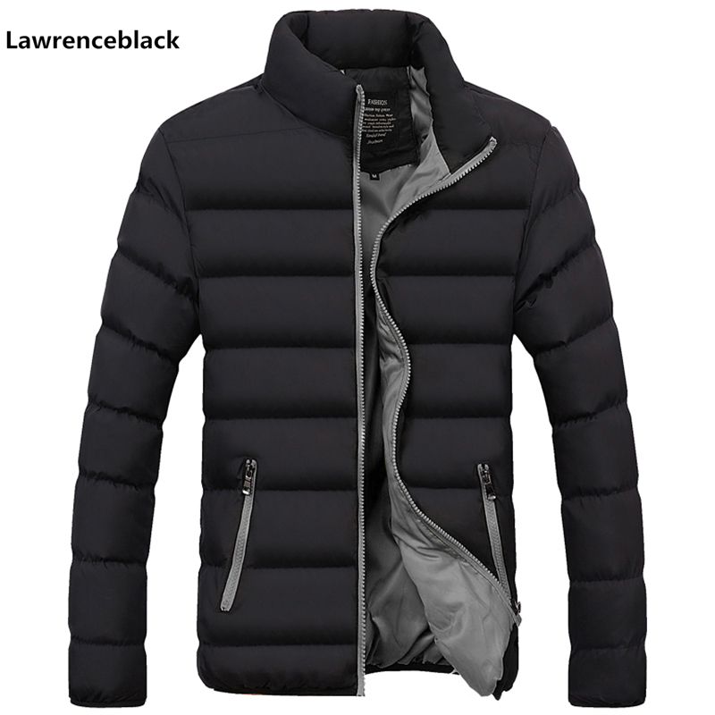 Winter Jacket Coat Padded Stand-Collar Down-Parka Thick Mens Brand Cotton Zipper Solid