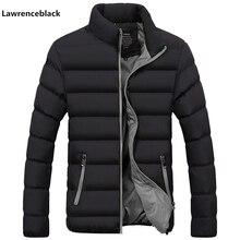 Mit freies geschenk Männer Parka Baumwolle Gepolsterte Winter Jacke Mantel herren warme jacke einfarbig Zipper Dicken Mantel Männer Unten parka 1921