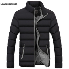 with free gift Men Parka Cotton Padded Winter Jacket Coat mens warm jacket Solid