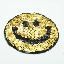 New Smail face  With Sequined Patches Fashion Applique lron on Patch for Clothes Bags DIY Decal Apparel Accessory 1Set(2pcs)