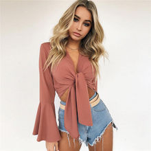 2019 Autumn Womens Shirts Fashion Butterfly Sleeve Lace Up Bandage Sexy Short