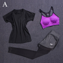 Women's Fitness Yoga Sets 3 Piece (T-shirt+Bra Vests+Pants) Breathable Gym Clothes Sport Training Tight Leggings Sportswear Y015