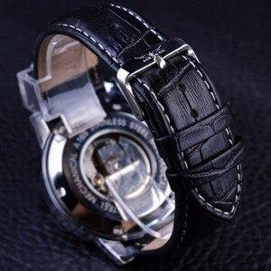 Image 5 - Jaragar 6 Blauwe Handen Display Mode Ontwerp Silver Case Mannen Horloges Topmerk Luxe Lederen Band Automatische Polshorloge