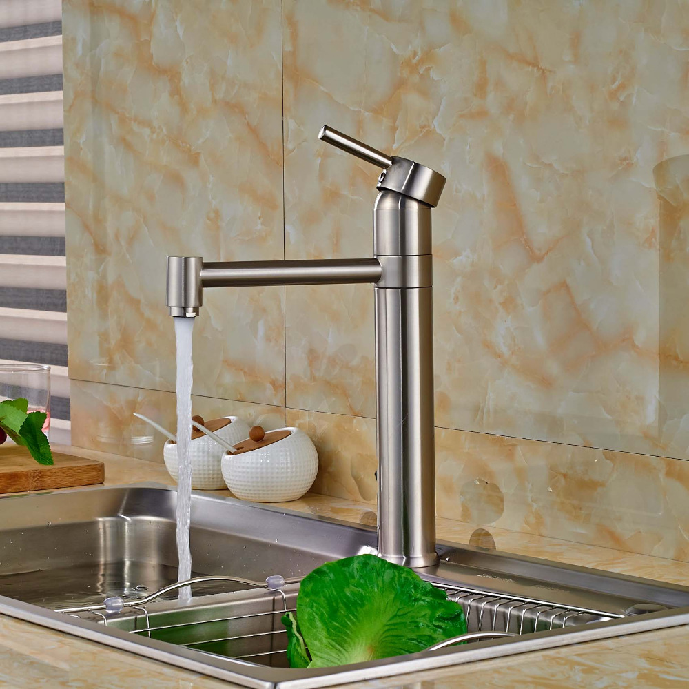 ФОТО Swivel Spout Kitchen Sink Faucet Single Handle Kitchen Mixer Water Taps Nickel Brushed