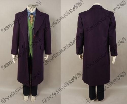 Batman The Dark Knight Joker wool purple trench coat Jacket Men Halloween cosplay costume