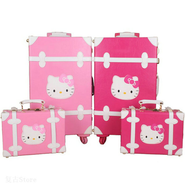 Women Vintage Trolley Luggage Travel Bag Hello Kitty Luggage Universal  Wheels Luggage Sets Travel Suitcase 20 0714f9939cb2e