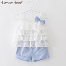 Humor Bear 2019 Girl's Clothes New Summer Children Bow Lace Sling T-shirt+Stripe