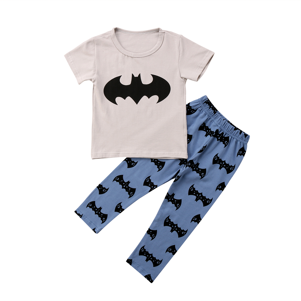 3f1025accbec 2pcs Baby Boy T shirt Grey Short Sleeves Tops+Pants Batman Leggings ...