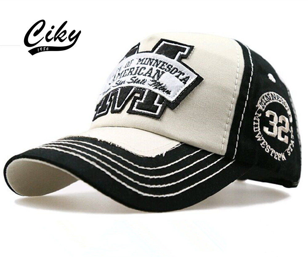 Prix pour Neuf de Haute Qualité Mode Casual casquette de baseball pour hommes femmes Gorras Snapback Lettre M Imprimé Sport En Plein Air Soleil Chapeau B-079