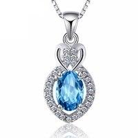Moda femenina COLLAR COLGANTE gemas azules de la vendimia colgante sólido 925 joyas de plata esterlina lindo regalo para la novia