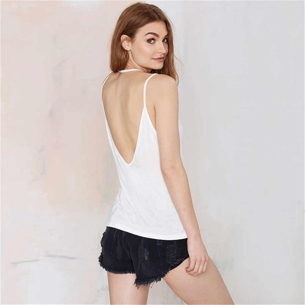 KANCOOLD 2019 Bohemian Style Summer Women Irregular Hollow Cotton Open Back Vest Sleeveless Crop Top T-Shirt FE25