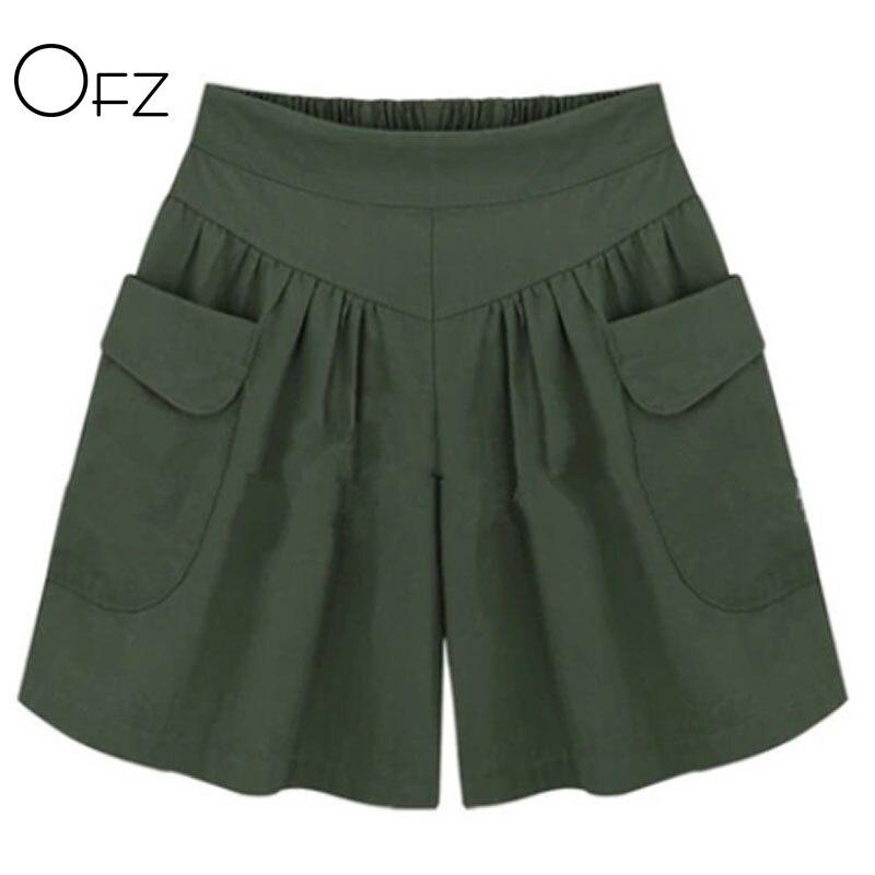 2019 Summer European Style Plus Size 5XL Ladies   Shorts   Loose Casual Wide-Leg   Short   Street Elastic Waist Flare Women Clothing
