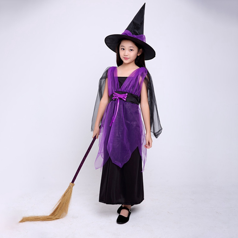2018 niños Halloween Constume Cosplay ropa Set bruja Bat vestido Little Devil Night Party carnaval sombrero + vestido