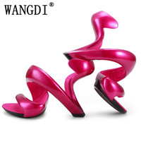 EdBeauty Women Sandals Summer New Fashion Bottomless Snake High Heels Platform Sandals Shoes Woman Wedding Shoes