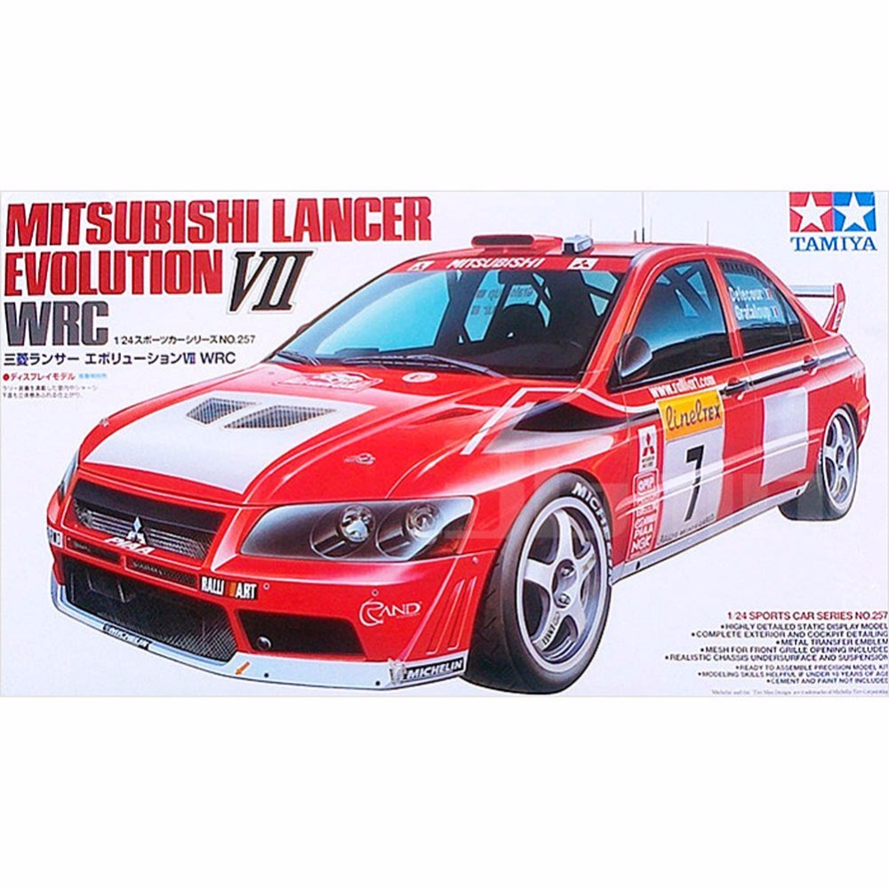 ФОТО OHS Tamiya 24257 1/24 Mitsubishi Lancer Evolution VII Evo7 Rally Car Assembly Scale Car Model Building Kits