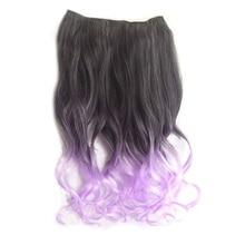 HTHL-Новая мода для женщин девочек 3/4 ПОЛНАЯ ГОЛОВА Клип В синтетических волос для наращивания длинные вьющиеся волосы фиолетовый