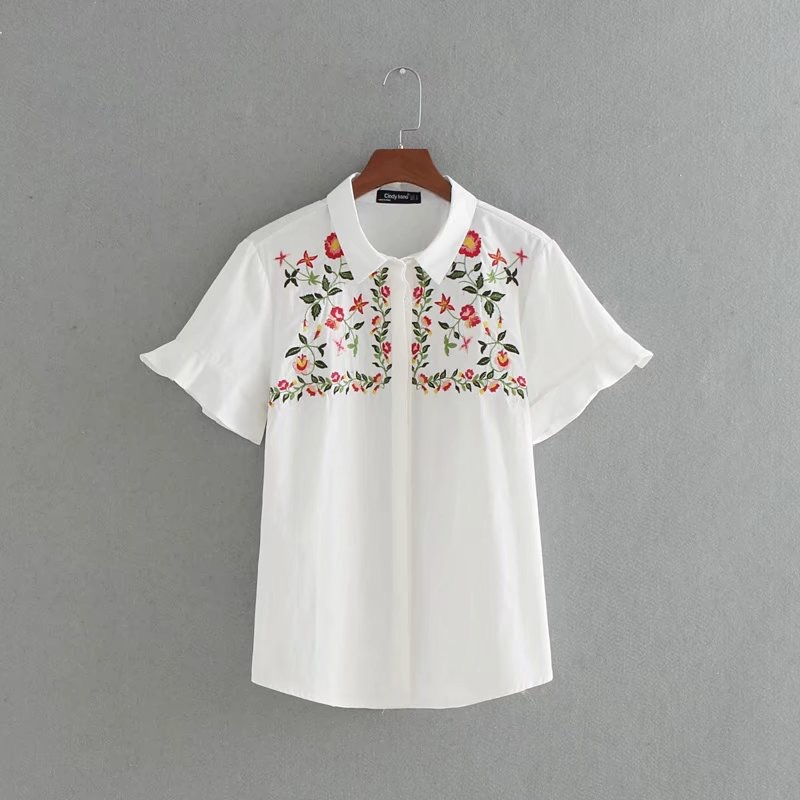 d6e40081 VOGUEIN New Womens Floral Embroidered Short Sleeve Button Down Shirt Blouse  Tops Size SML Wholesale-in Blouses & Shirts from Women's Clothing on ...
