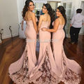 vestido madrinha Custom Made vestidos  de honor Spaghetti Straps Lace Mermaid Bridesmaid Dress Long Coral