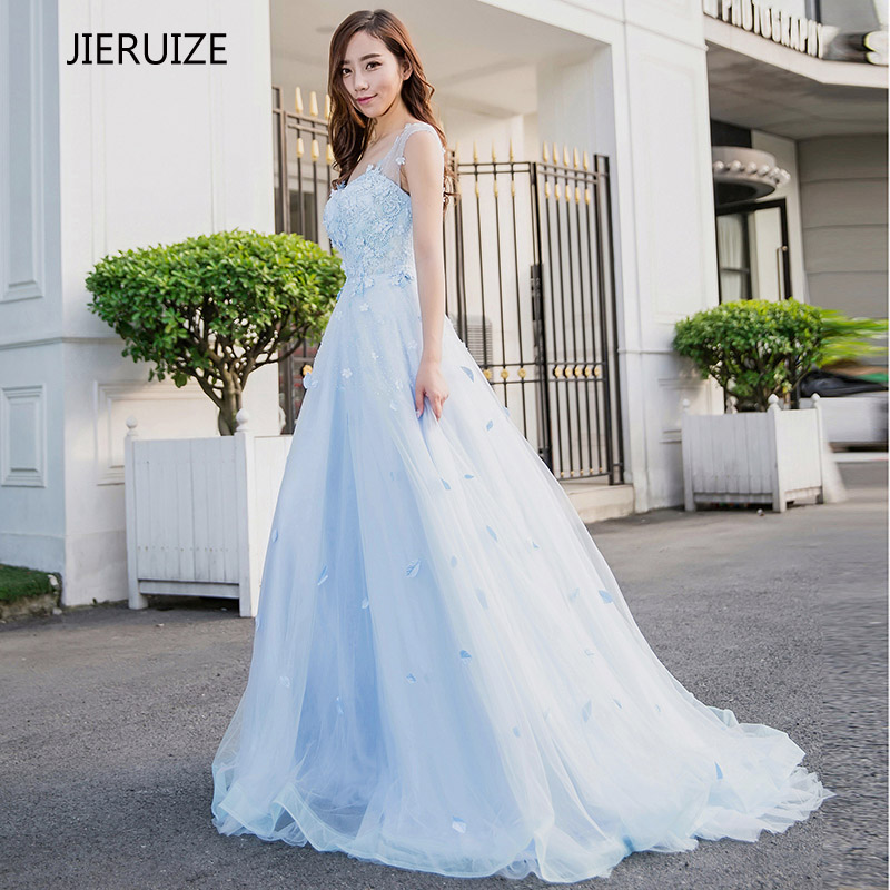 ᑎ‰JIERUIZE Light Blue Lace Appliques Beaded Long Prom Dresses 2017 ...