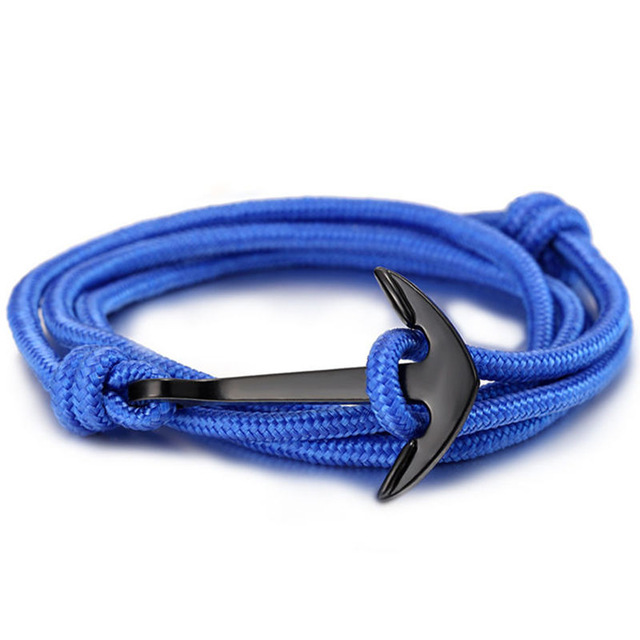 Fashion black anchor charm survival rope chain leather friendship bracelet men and women jewelry  5