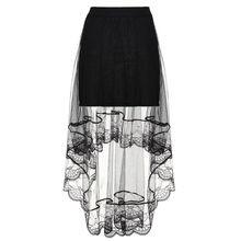Summer High Waist Women Girls Layered Sheer Mesh Swallowtail Midi Long Skirt Asymmetric Scalloped Lace Hem Pleated Party цена 2017