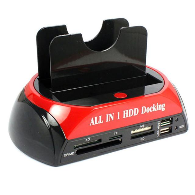 Mecall New All In 1 HDD Docking Station dupla leitor + Card com um botão de Backup & H velocidade clonagem