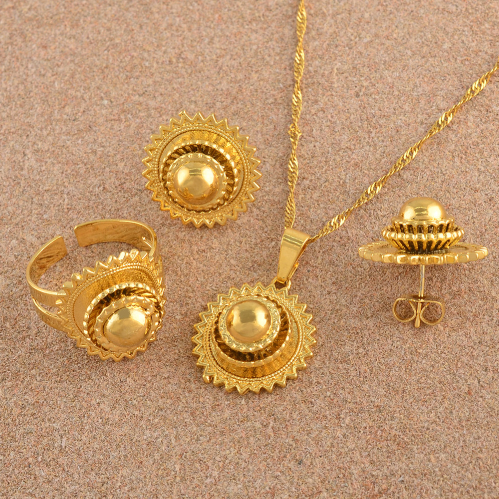 Bridal-Jewellery-Sets Necklace Earrings Habesha Ethiopian Ring-African Eritrea Wedding